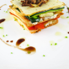 Thumbnail image for Potato Crisp, Roasted Vegetable, and Herbed Goat Cheese Napoleon